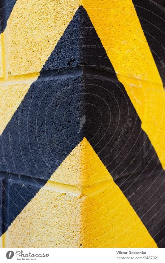 Yellow and black stripes on the wall Design Wallpaper Work and employment Industry Street Line Stripe Bright Black Safety Protection Safety (feeling of) Caution