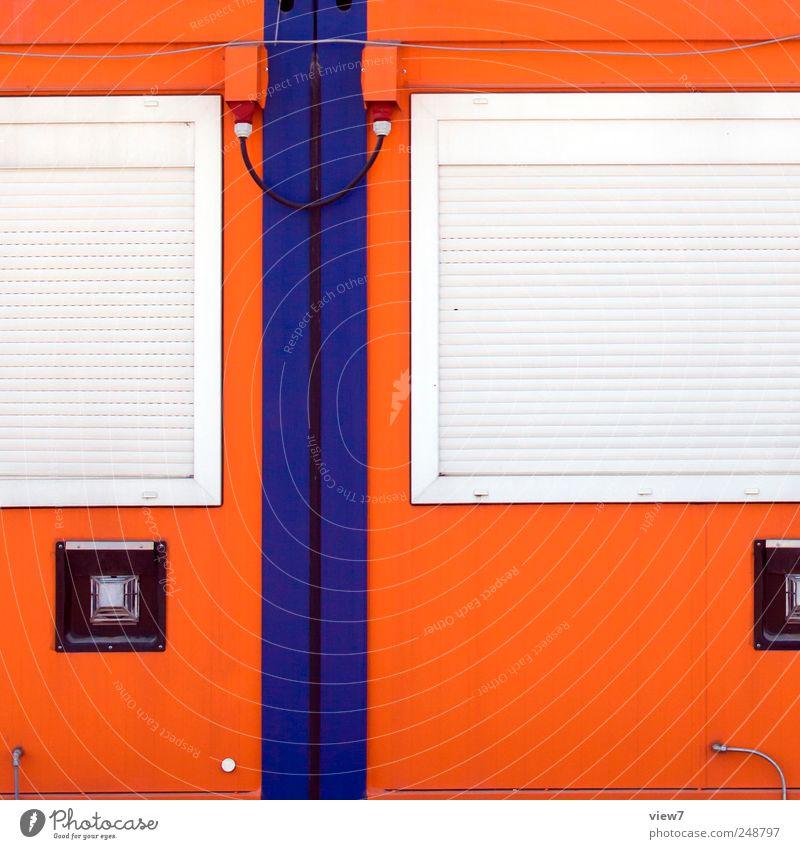 interrelations Building Architecture Wall (barrier) Wall (building) Facade Window Metal Line Stripe Authentic Fresh Cold Modern Cliche Arrangement Break Calm