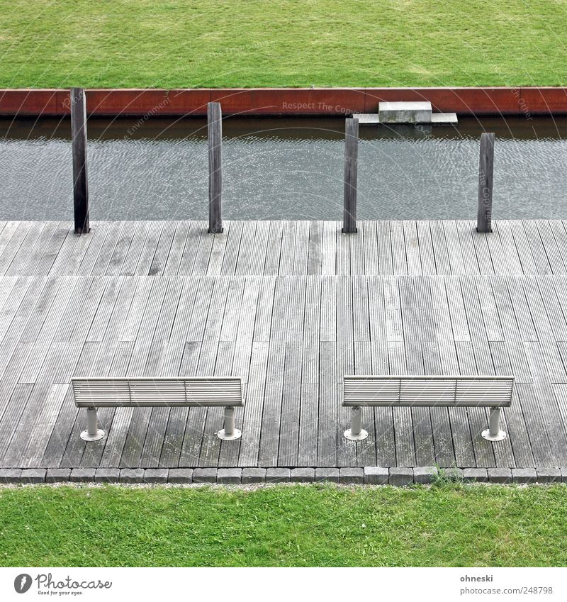 seating areas Water Park Meadow Bochum Bench Wood Green Wooden stake Pole Restful Deserted Calm Colour photo Exterior shot Structures and shapes Copy Space top