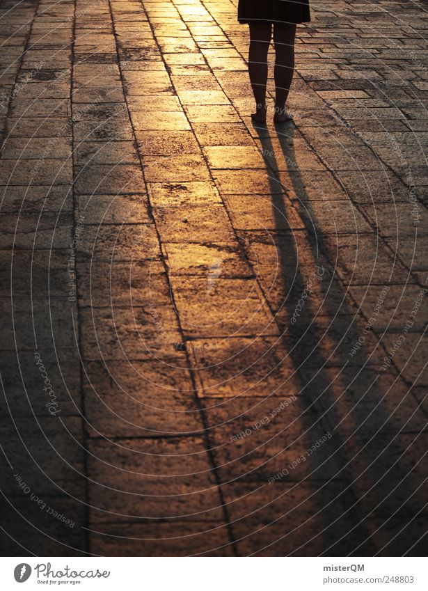 walk away. Esthetic Gold Walking Visual spectacle Going To go for a walk Calm Wake up Woman Venice Veneto Floor covering Ground Pavement Paving stone Places