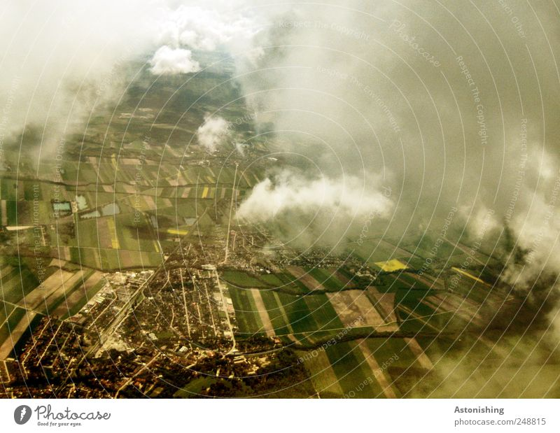 from above Environment Nature Landscape Plant Earth Air Clouds Summer Weather Park Meadow Field Village Small Town Transport Means of transport Aviation Brown