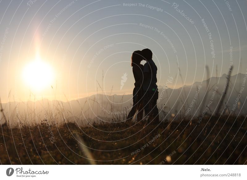 Just a minute. Human being Masculine Young woman Youth (Young adults) Young man Couple Partner 2 Environment Nature Landscape Sun Sunlight Summer Kissing Love