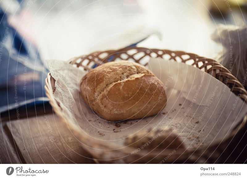 "Lonely roll Food Dough Baked goods Bread Roll Nutrition Breakfast ""Food Basket Bread basket braided"" Colour photo Subdued colour Close-up Detail Deserted"
