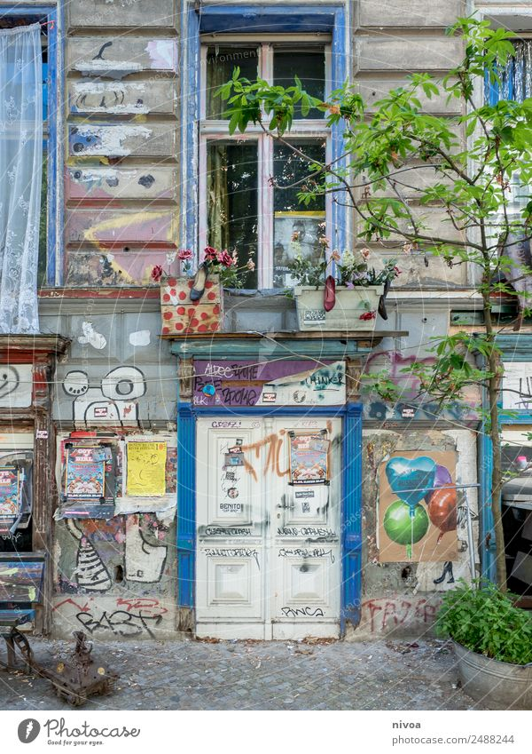 animated house facade in Berlin Lifestyle Tourism Trip Adventure Freedom Cycling tour Summer Redecorate Tank Art Tree Capital city Downtown