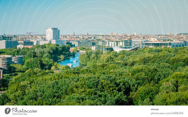Berlin Panorama with Tiergarten Lifestyle Design Tourism Trip Far-off places Freedom Sightseeing City trip Workplace Office Architecture Media Cloudless sky