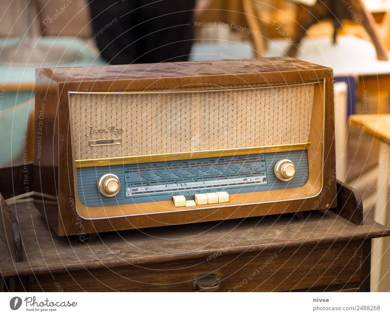 Old Vintage Radio at the Mauerpark flea market in Berlin Lifestyle Style Design Radio (device) Technology Entertainment electronics Flea market