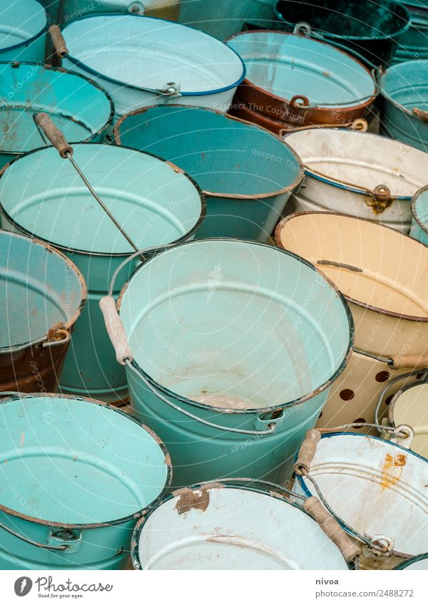 many colorful buckets Style Flea market Kitsch Odds and ends Collector's item Bucket Rust Water Old Discover Fluid Uniqueness Blue Turquoise White Equal