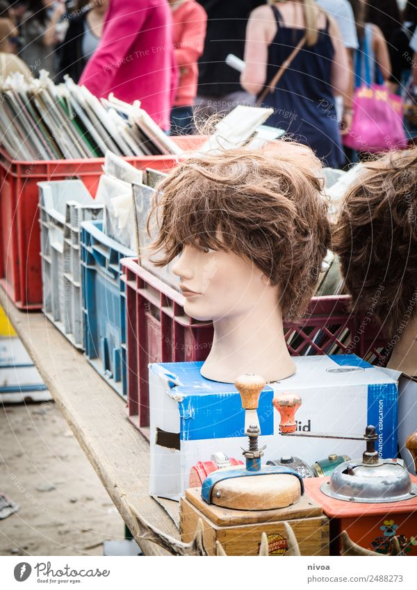 flea market constant with bust-head, coffee mill and records Coffee grinder Style Beautiful City trip Summer Flea market wall park Human being Crowd of people