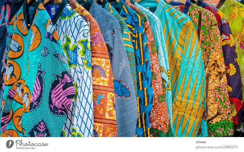 Colourful African jackets at the Berlin Mauerpark flea market Lifestyle Shopping Style Tourist Attraction wall park Flea market Fashion Clothing Shirt Jacket