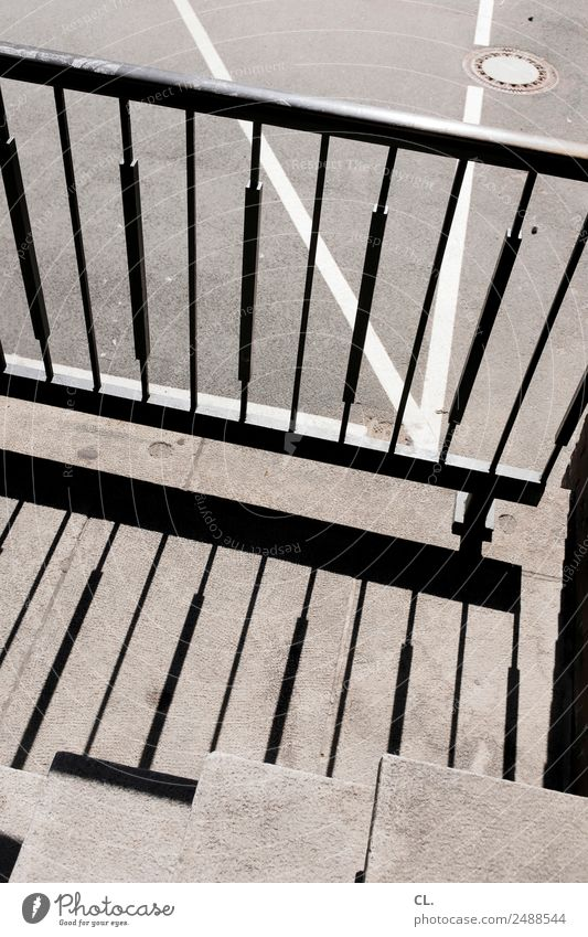 line play Stairs Transport Traffic infrastructure Street Lanes & trails Handrail Gully Line Gray Complex Shadow play Colour photo Exterior shot Abstract Pattern