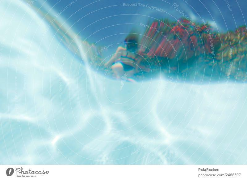 Woman Vacation & Travel Blue Water Eroticism Art Esthetic Swimming pool Exotic Bikini Work of art Surface of water Flirt Vacation photo Vacation mood