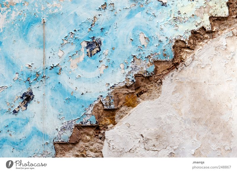 : / Lifestyle Style Wall (barrier) Wall (building) Stairs Sign Old Uniqueness Broken Colour Blue Colour photo Close-up Abstract Structures and shapes Deserted