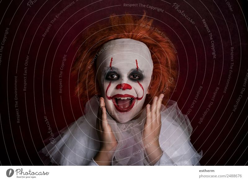 smiling boy dressed as a clown Lifestyle Vacation & Travel Entertainment Party Event Feasts & Celebrations Hallowe'en Human being Masculine Child Boy (child)