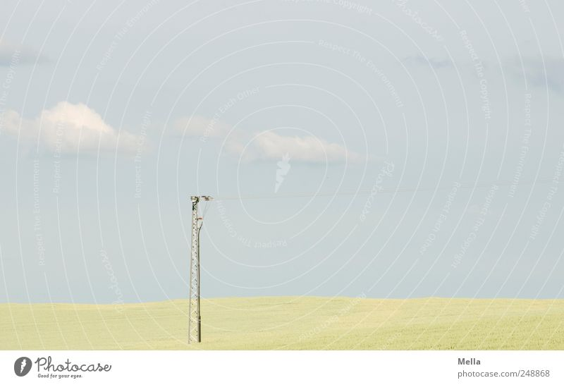 country Electricity pylon Telegraph pole Broadcasting tower Environment Nature Landscape Clouds Field Horizon Modern Far-off places Agriculture Colour photo