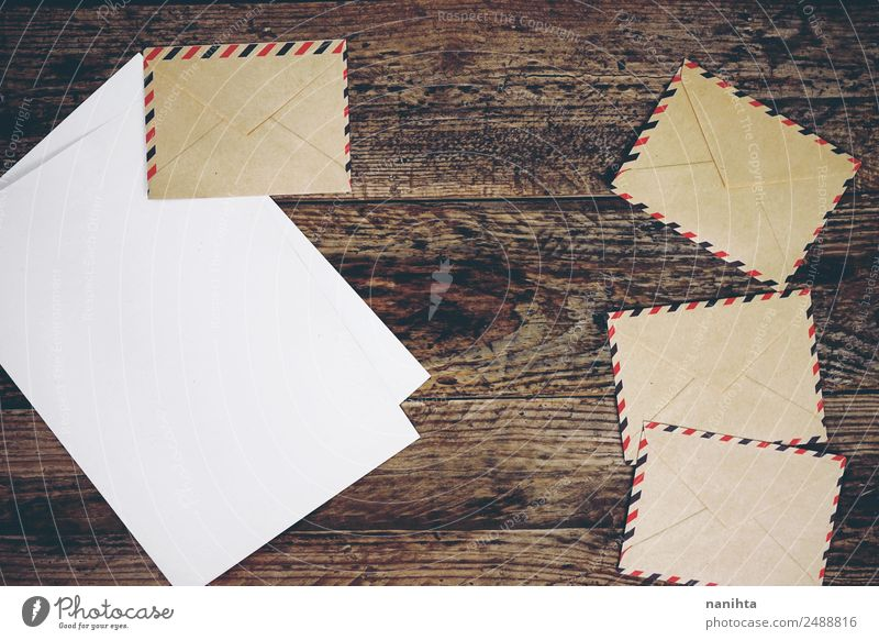 Vintage paper envelopes, paper and wood texture Style Design Leisure and hobbies To talk Culture Envelope (Mail) Paper Letter (Mail) Wood Old Authentic Simple