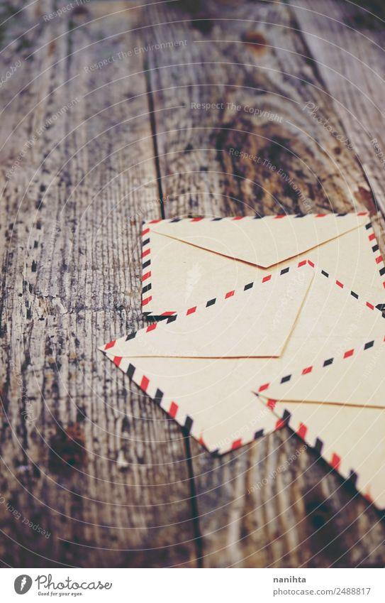 Old paper envelopes over wood texture Style Design Feasts & Celebrations Christmas & Advent Wedding To talk Invitation Letter (Mail) Envelope (Mail) Paper Wood