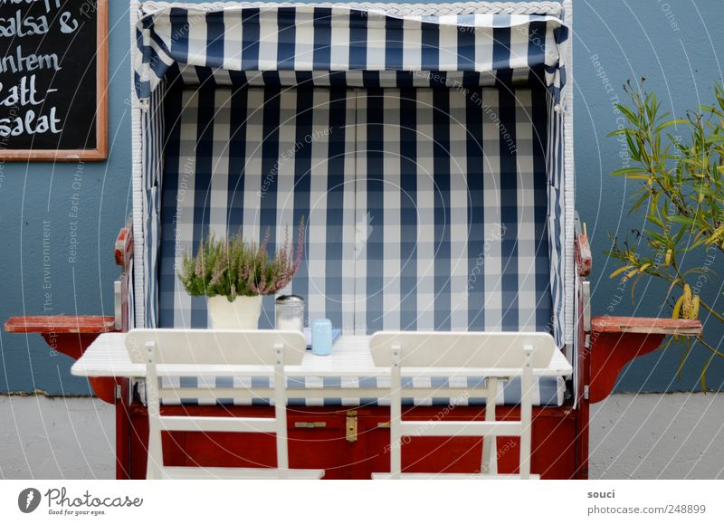 Vacation & Travel Blue Summer Ocean Relaxation Red Beach Garden Contentment Table Trip Island Chair Baltic Sea Well-being Furniture