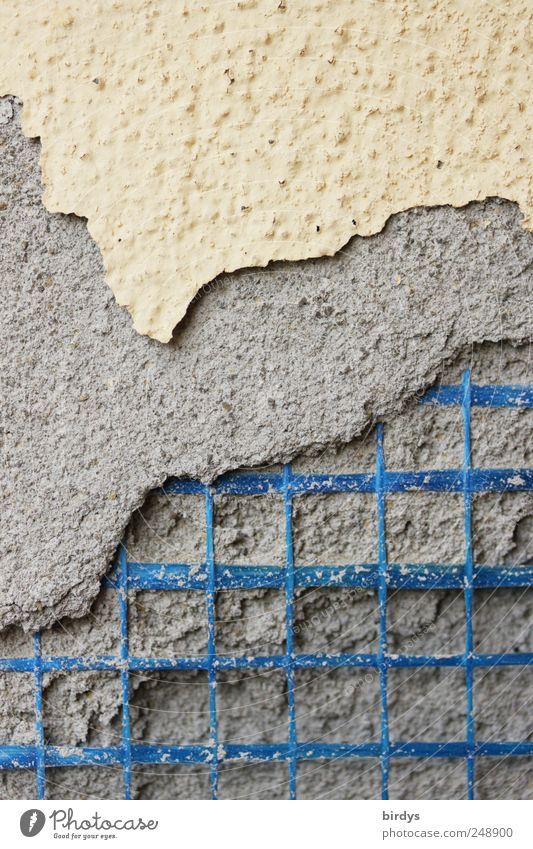 construction defects Craft (trade) Construction site Wall (barrier) Wall (building) Broken Blue Yellow Gray Decline Destruction Plaster Paintwork Cloth