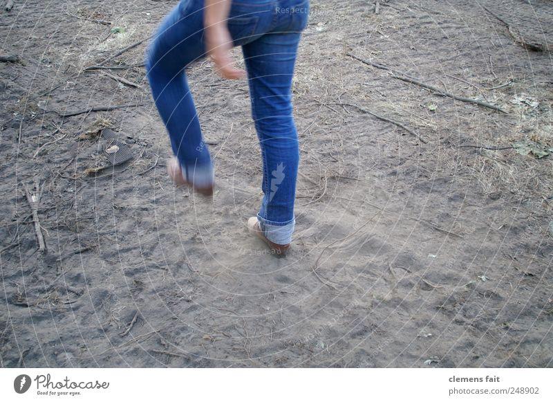 let's go Human being Feminine Legs 1 Walking Self-confident March Pants Blue Sandy path Beginning Advancement Colour photo Exterior shot Copy Space bottom