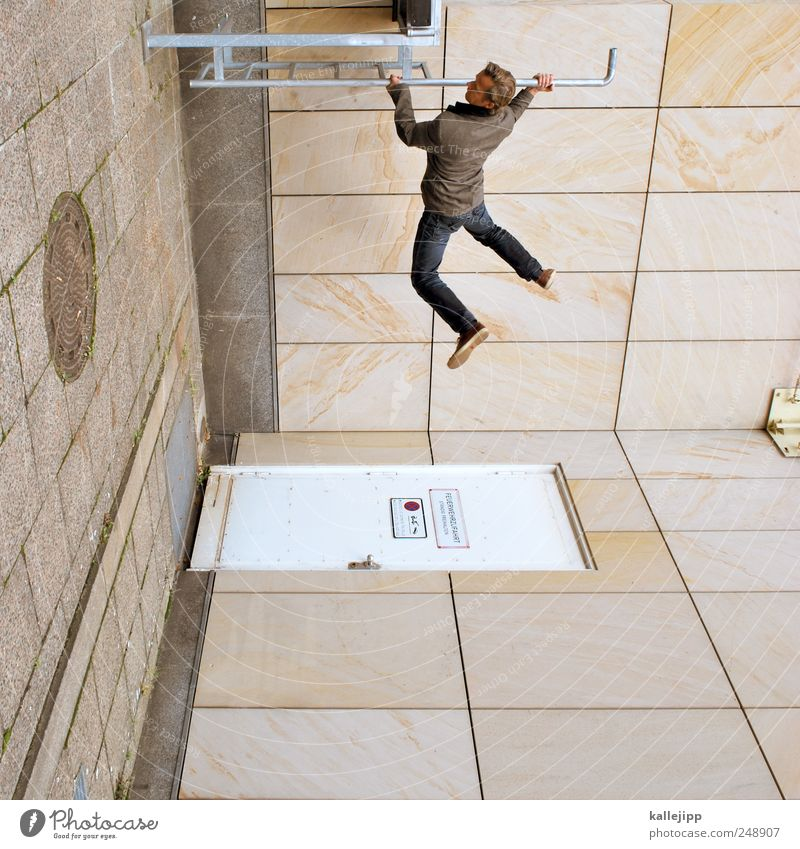 Human being Man Adults Architecture Masculine Car door Fitness Ladder Playground 30 - 45 years Parkour Exterior shot Part