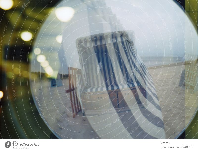 who is not enough, nothing is enough Nature Coast Beach Baltic Sea Sand Blue Beach chair Contrast Blur Double exposure Analog Colour photo Exterior shot