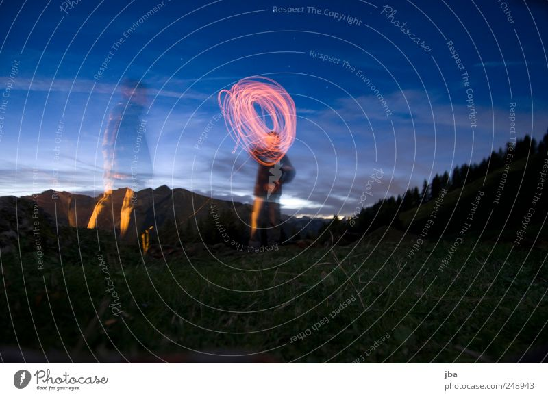 light circuit Well-being Relaxation Trip Camping Mountain Hiking Night life 2 Human being Nature Fire Water Night sky Stars Beautiful weather Forest Alps