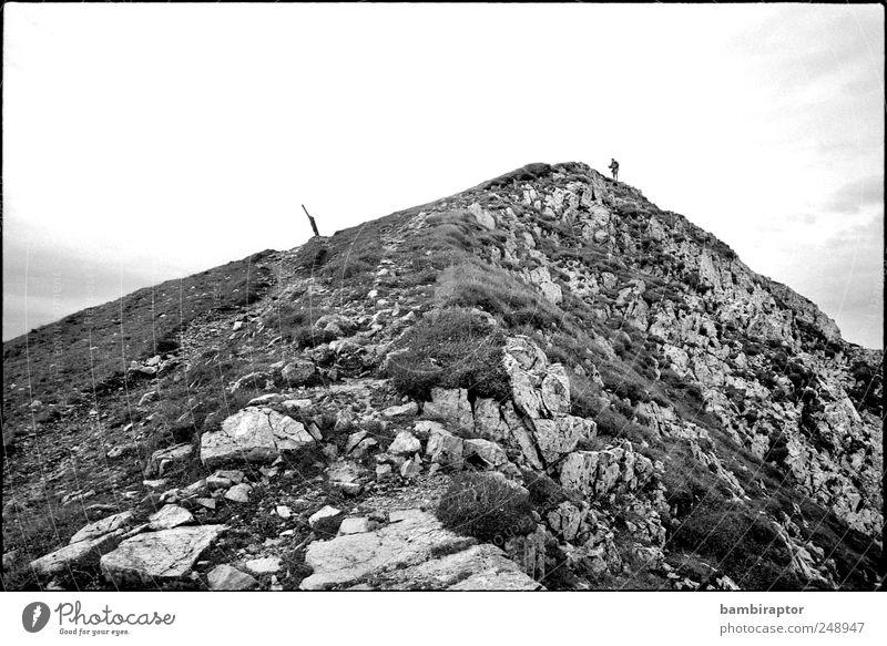 summiteers Trip Adventure Mountain Hiking Climbing Mountaineering Man Adults 1 Human being Nature Sky Rock Peak Mountain ridge Black & white photo Exterior shot