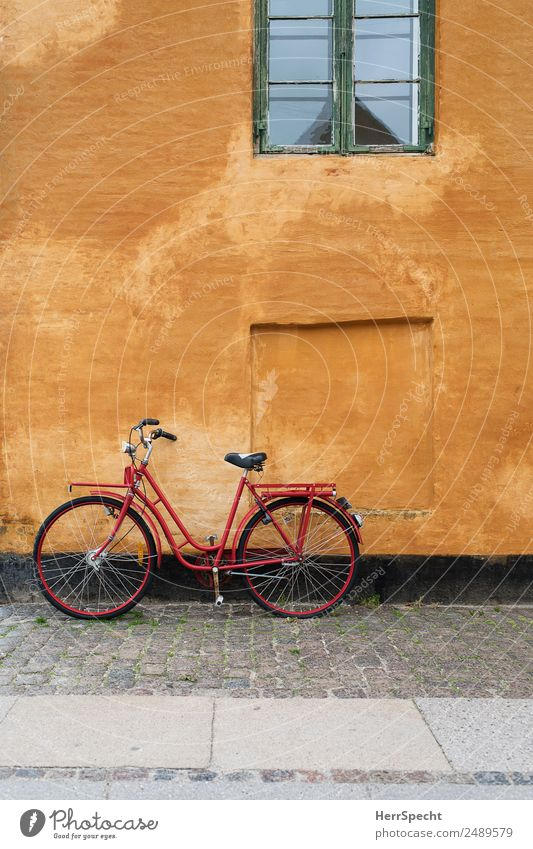 Old Town Red House (Residential Structure) Window Wall (building) Building Wall (barrier) Exceptional Orange Facade Retro Bicycle Esthetic Manmade structures