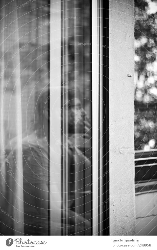 dernier Masculine Man Adults 1 Human being Balcony Window Door Glass Observe Think Relaxation To enjoy Smoking Uniqueness Calm Exceptional Black & white photo