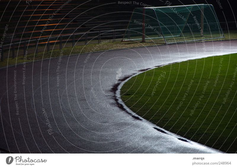 career Track and Field Soccer Goal Sporting Complex Football pitch Stadium Career Dark Lanes & trails Resume Movement Wet Damp Floodlight Colour photo Deserted