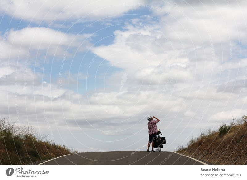 Human being Blue Joy Street Landscape Above Movement Gray Power Bicycle Masculine Adventure Success Beautiful weather Peak Strong
