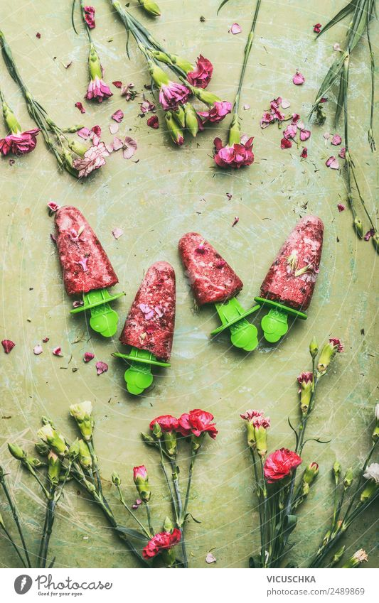 Summer Healthy Eating Flower Food photograph Style Pink Living or residing Design Fruit Ice Nutrition Table Ice cream Cool (slang)