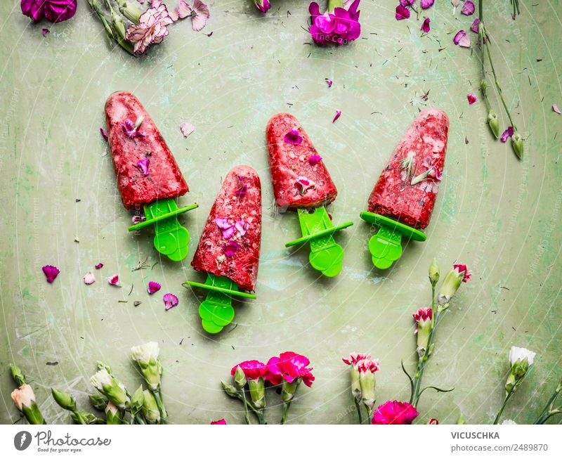 Red fruit ice cream on a stick Food Fruit Ice cream Nutrition Juice Style Design Healthy Eating Summer Living or residing Hip & trendy Pink Self-made