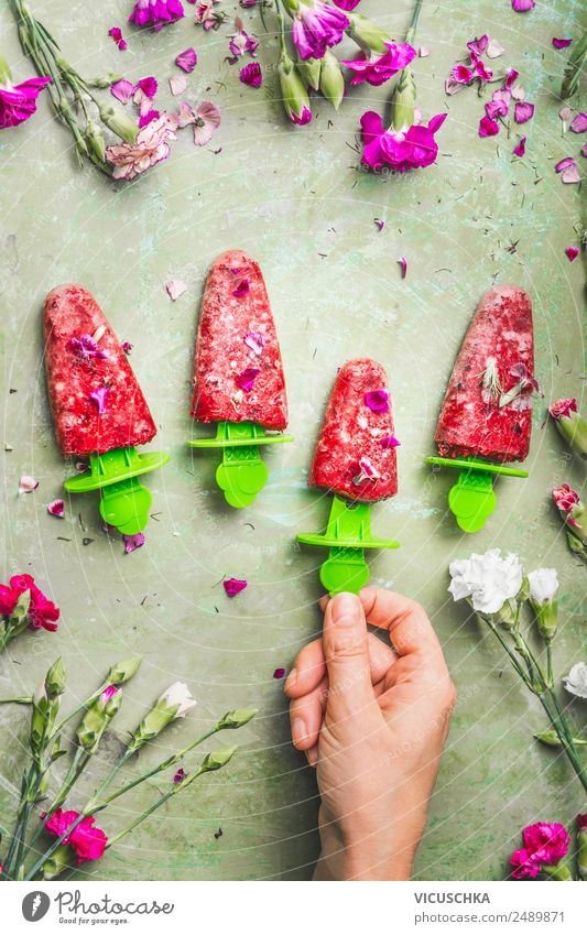 Homemade ice cream on a stick Food Fruit Ice cream Nutrition Organic produce Vegetarian diet Diet Style Design Healthy Eating Summer Living or residing Feminine