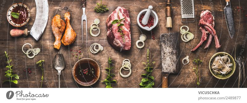 Various grill meat and grill utensils Food Meat Herbs and spices Nutrition Picnic Organic produce Crockery Style Design Party Restaurant Barbecue (apparatus)