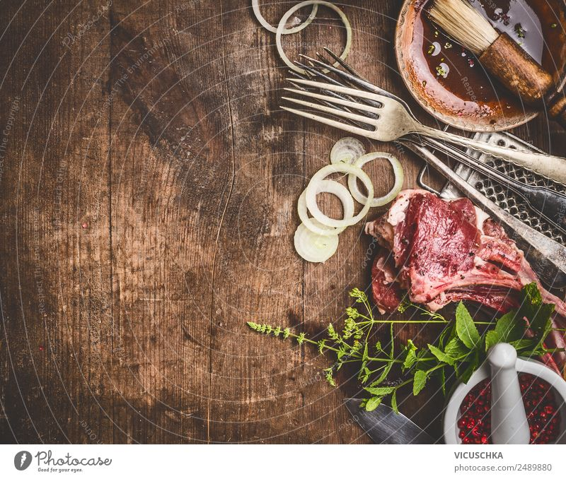 Raw lamb and grill or BBQ sauce Food Meat Herbs and spices Nutrition Organic produce Crockery Shopping Style Design Restaurant Barbecue (apparatus) Sauce