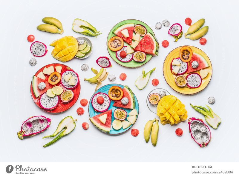 Various sliced tropical fruits and fruits Food Fruit Apple Orange Nutrition Breakfast Organic produce Vegetarian diet Diet Plate Shopping Style Design Healthy