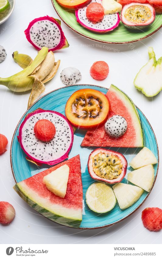 Plate with exotic fruit and watermelon Food Fruit Apple Orange Nutrition Breakfast Organic produce Style Design Healthy Healthy Eating fruit plate Exotic