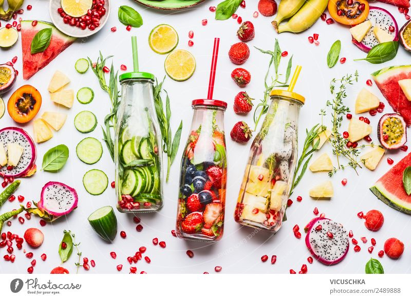 Water with flavor to add, bottles with ingredients Food Fruit Apple Orange Organic produce Vegetarian diet Diet Beverage Cold drink Drinking water Style Design