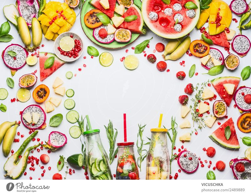 Fruit, berries and drinks frame Food Apple Orange Nutrition Breakfast Organic produce Vegetarian diet Diet Beverage Drinking water Lemonade Juice Plate Bottle