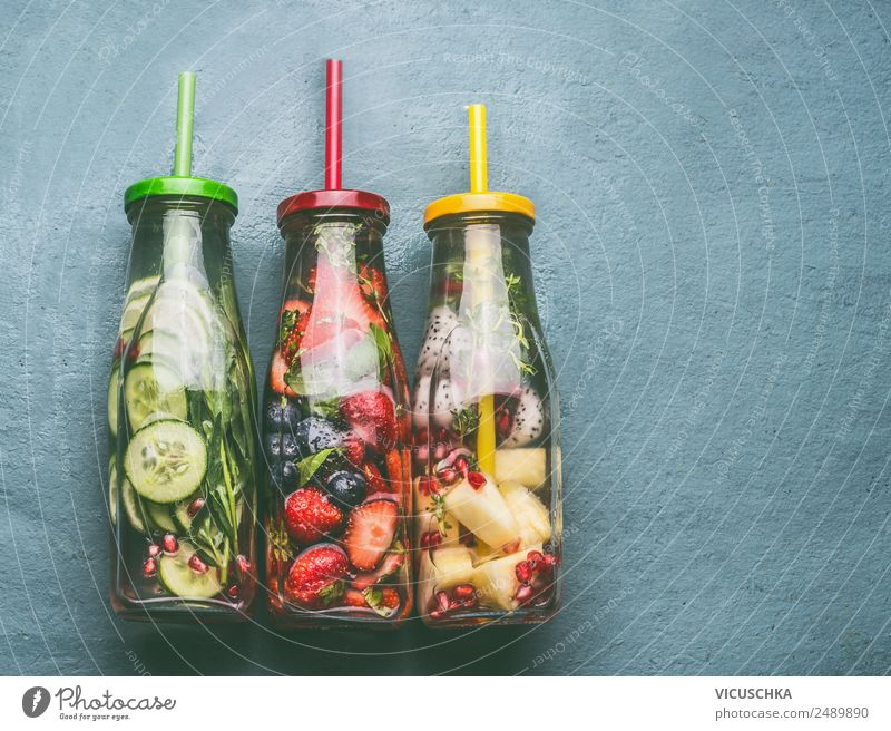 Bottles of water, fruit, berries and herbs Food Fruit Apple Orange Nutrition Beverage Cold drink Drinking water Style Design Healthy Healthy Eating Summer