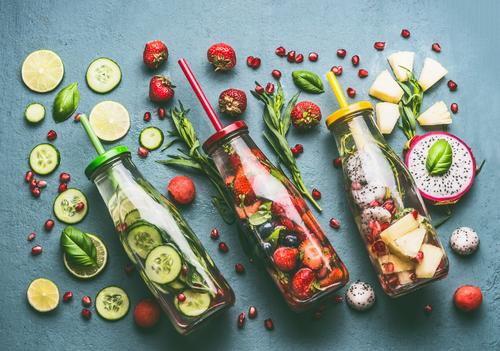 Colourful Infused Water Bottles Food Vegetable Fruit Apple Orange Herbs and spices Nutrition Organic produce Vegetarian diet Diet Beverage Cold drink