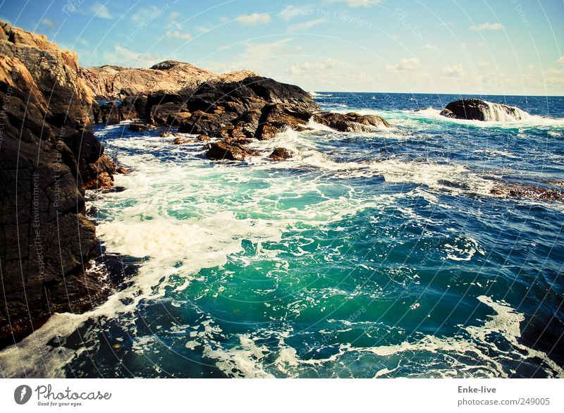 Sky Water Blue Vacation & Travel Ocean Far-off places Life Freedom Landscape Coast Moody Brown Waves Contentment Power Wind