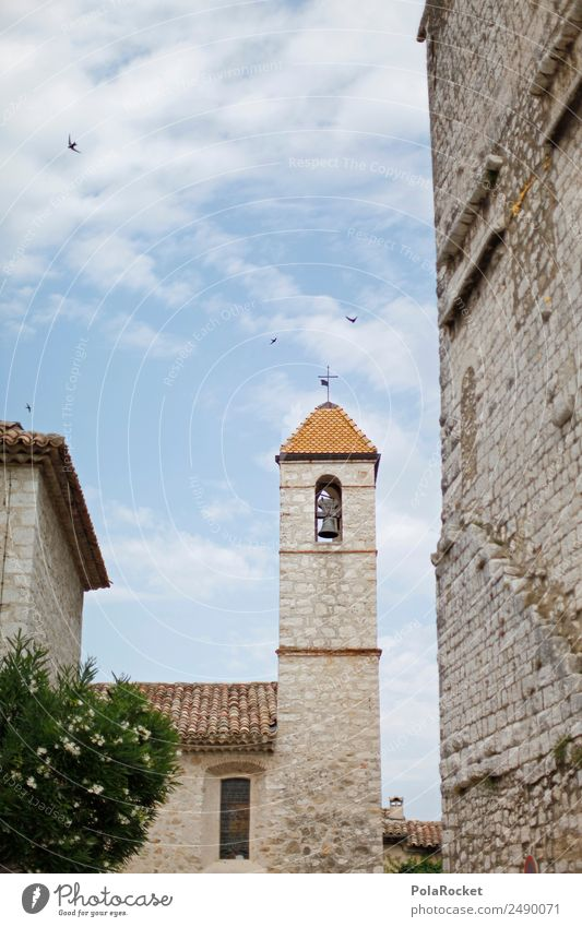 #A# French turret Art Work of art Esthetic Tower Church spire Bell tower Mediterranean Cote d'Azur France Colour photo Multicoloured Exterior shot Detail