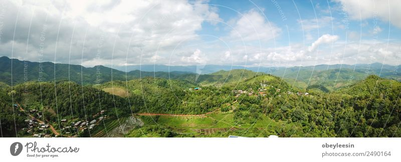 Aerial photos A small village in the jungle in Chiang Mai Swimming pool Vacation & Travel Summer Beach Ocean Waves Mountain Garden Environment Nature Landscape