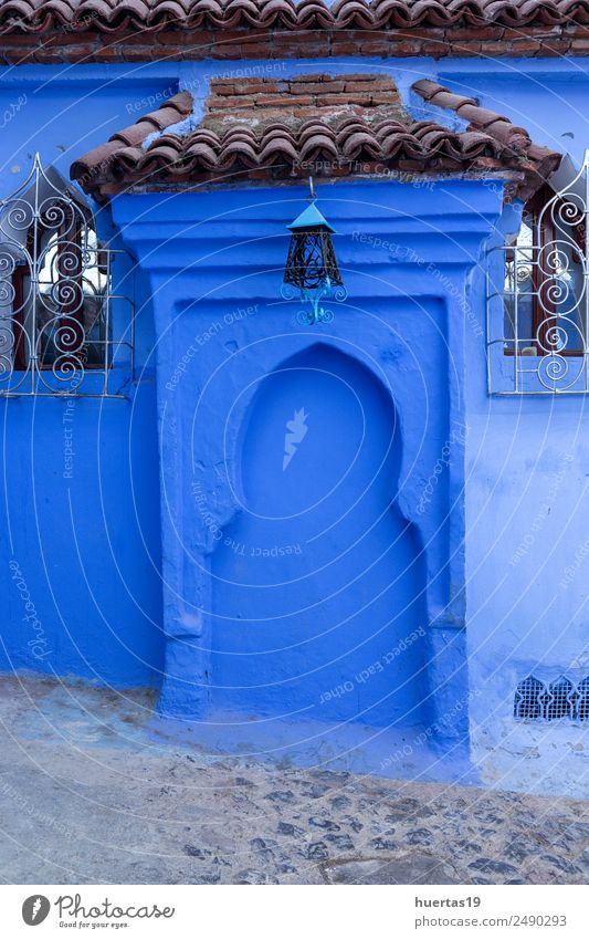 Chaouen the blue city of Morocco. Vacation & Travel Old Blue Architecture Building Tourism Shopping Village Downtown Store premises Small Town City Vertical