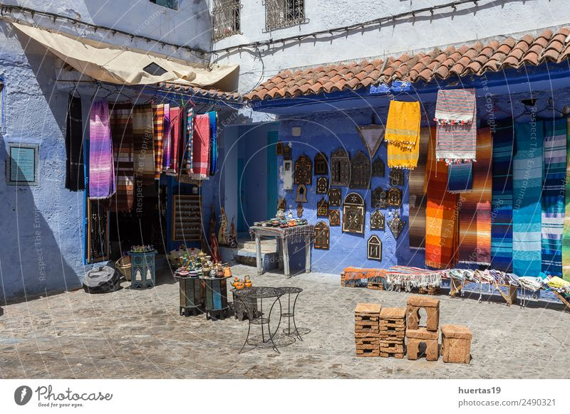 Chaouen the blue city of Morocco. Vacation & Travel Old Blue Architecture Building Tourism Shopping Village Downtown Store premises Small Town Horizontal City