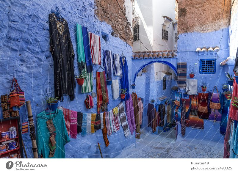 Chaouen the blue city of Morocco. Vacation & Travel Old Blue Town Architecture Building Tourism Shopping Village Downtown Store premises Horizontal City Moslem