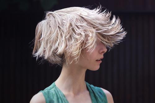 Curious | Crazy summer hair trend Girl Young woman Youth (Young adults) Life 1 Human being 13 - 18 years Hair and hairstyles Blonde Short-haired Wig Rebellious