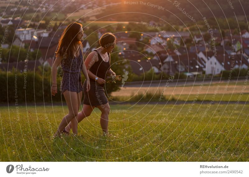 Human being Nature Youth (Young adults) Young woman Summer Town Beautiful Landscape Sun 18 - 30 years Lifestyle Adults Environment Love Natural Meadow